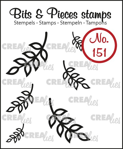 Bits & Pieces stempel no. 151, 6x Mini blaadjes 8