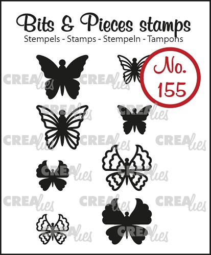 Bits & Pieces stempel no. 155, 8x Mini Vlinders 5 + 6