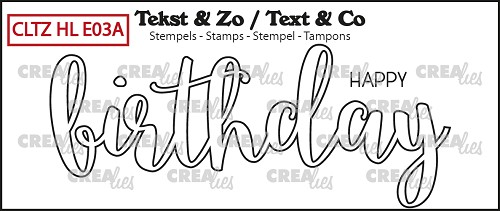 Text & Co English stamp Handlettering no. 03A, Happy Birthday, outline