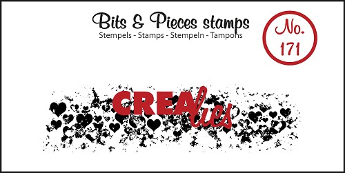Bits & Pieces stamp no. 171, Grunge hearts (strip)