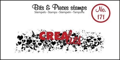 Bits & Pieces stempel no. 171, Grunge hartjes (langwerpig)