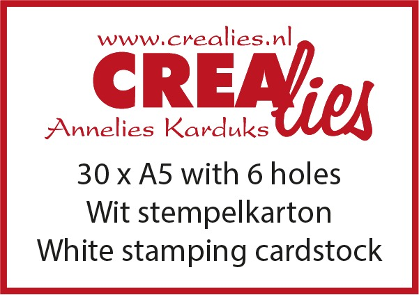Stamping cardstock with 6 holes, white 240 grams (30x A5)
