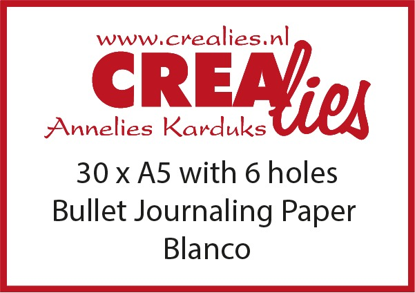 Bullet Journaling paper blanco with 6 holes, white 150 grams (30x A5)