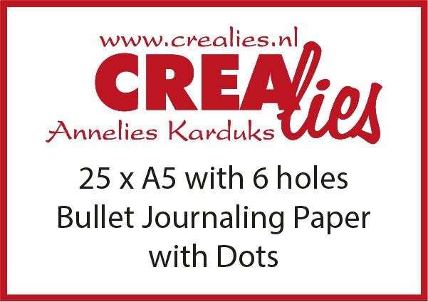 Bullet Journaling paper with dots, with 6 holes, white 150 grams (25x A5)