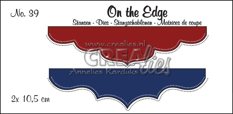On the Edge stansen no. 39, 2 x 10,5 cm. Met dubbele stippenlijn.