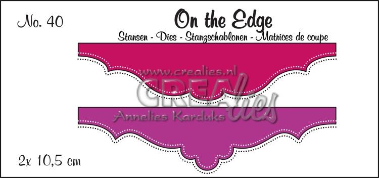 On the Edge stansen no. 40, 2 x 10,5 cm. Met dubbele stippenlijn.