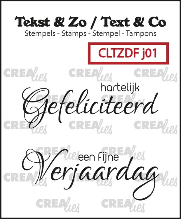 Tekst & Zo Duo Font stempels, Jarig no. 1