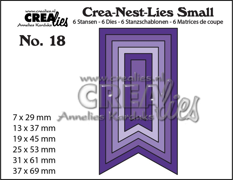 Crea-Nest-Lies Small stansen no. 18. 6x Vaandels, glad