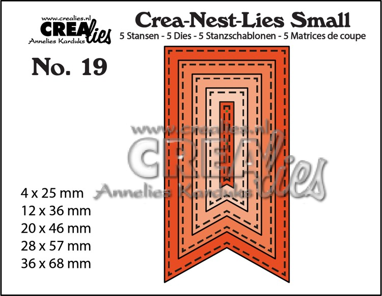Crea-Nest-Lies Small dies no. 19. 5x Fishtail Banner with stitch line