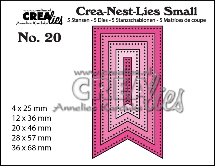 Crea-Nest-Lies Small dies no. 20. 5x Fishtail Banner with dots