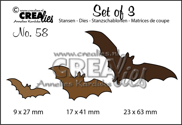 Set of 3 dies no. 58, Bats