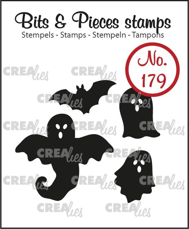 Bits & Pieces stempel no. 179, Spookjes en vleermuis (dicht)