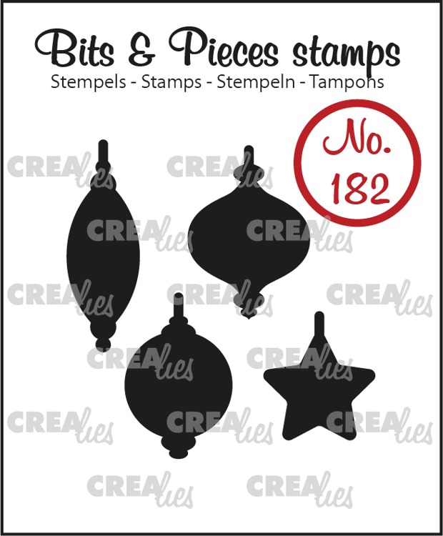 Bits & Pieces stamp no. 182, 4x Christmas ornaments (solid)