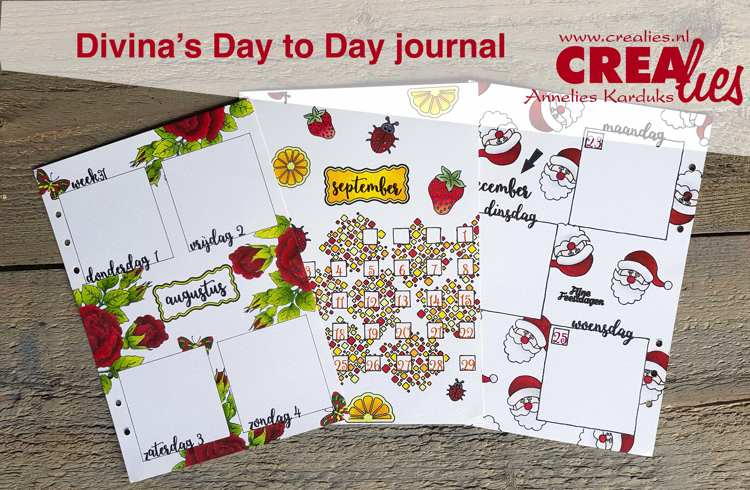 Divina's Day to Day journal, met Crealies stempeltechnieken.