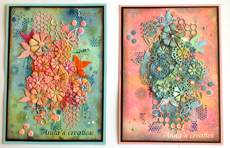 Crealies Mixed Media Cards with Flowers, by Anita