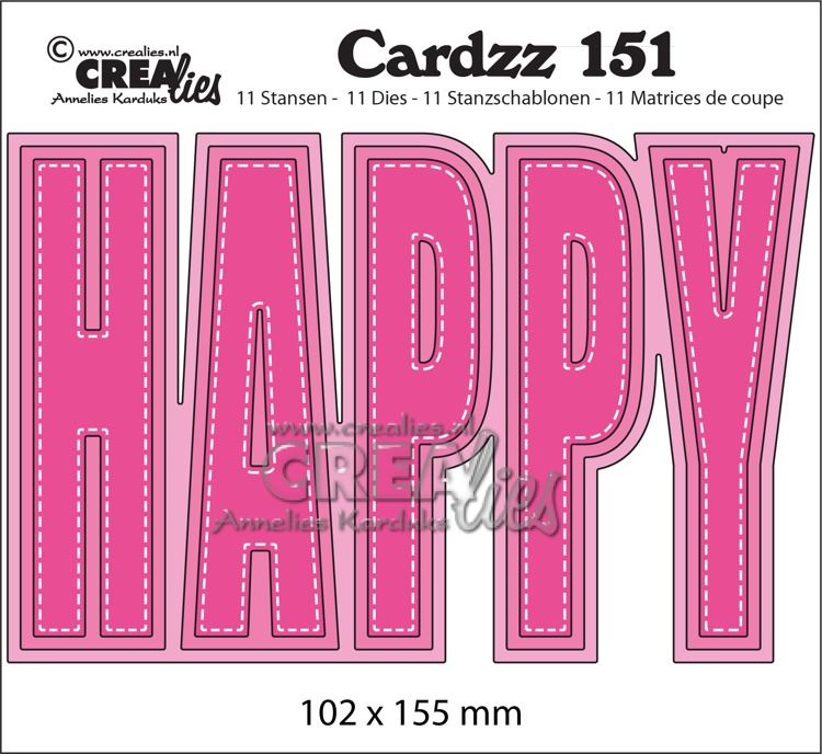 Cardzz stansen no. 151, HAPPY (kaartformaat)