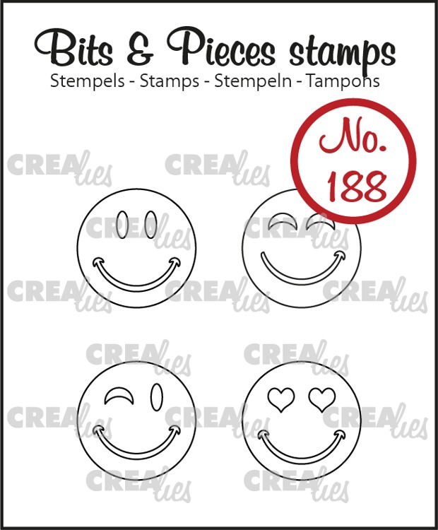 Bits & Pieces stamp no. 188, Happy Faces, outline
