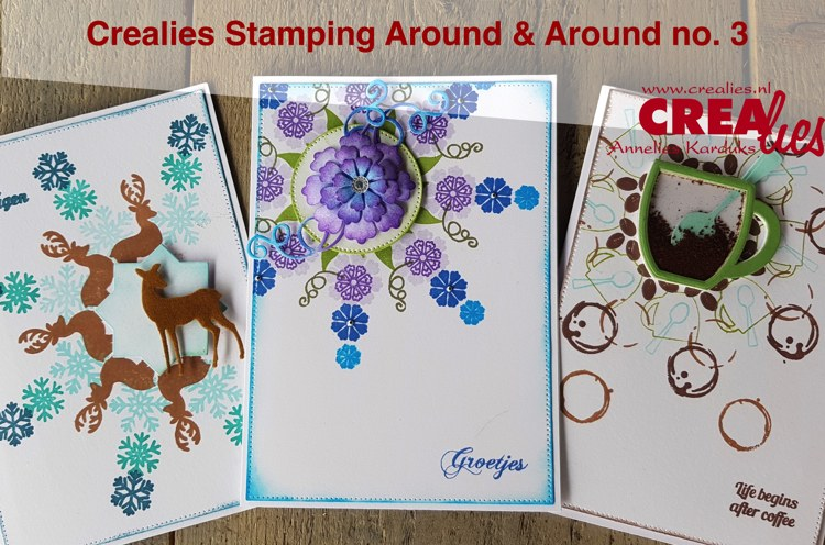 Crealies Stamping Around & Around part 3