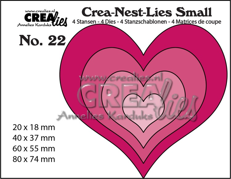 Crea-Nest-Lies Small stansen no. 22, 4x Harten