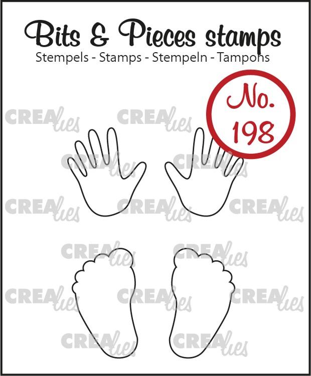 Bits & Pieces stempel no. 198, Baby handjes + voetjes (omlijning)