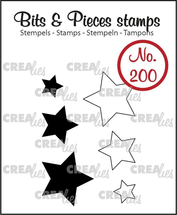 Bits & Pieces stempel no. 200, Sterretjes (dicht en omlijning)