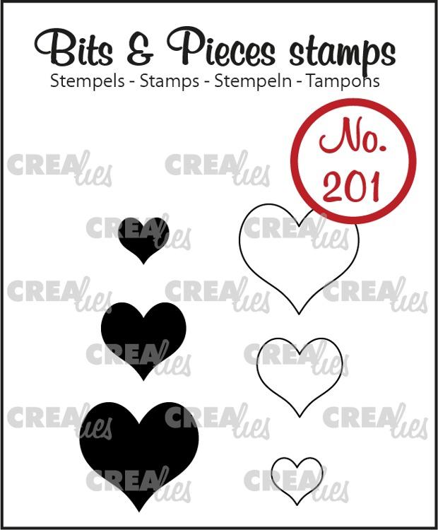 Bits & Pieces stempel no. 201, Hartjes (dicht en omlijning)