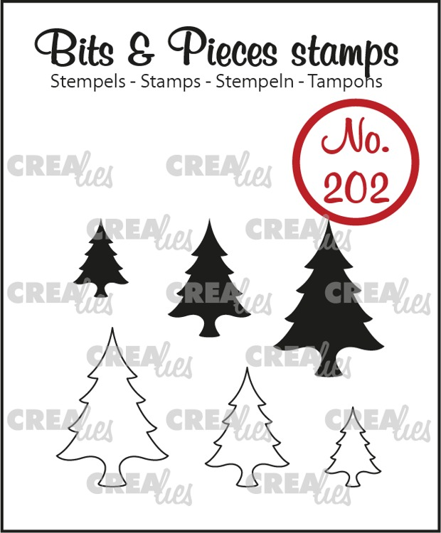 Bits & Pieces stamp no. 202, Trees (solid and outline)