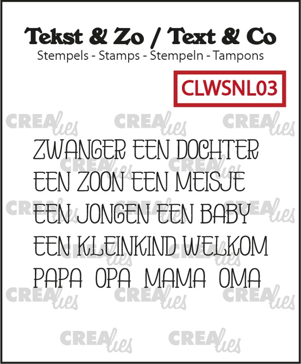 Tekst & Zo stamps, Word strips no. 3: Baby (Dutch)