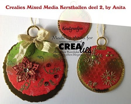 Crealies Mixed Media Kerstballen deel 2, by Anita