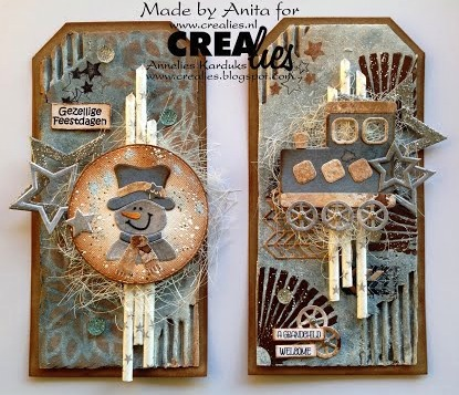 Crealies Mixed Media Tags, by Anita
