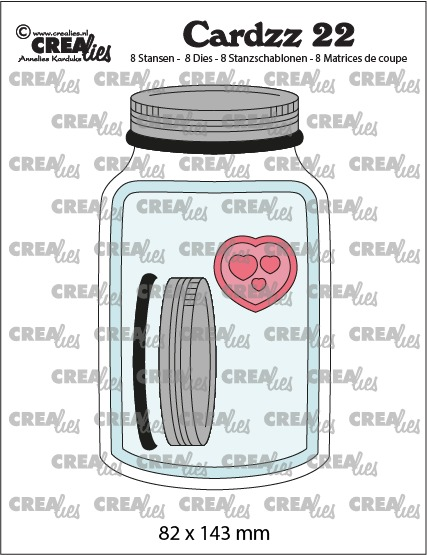 Cardzz stansen no. 22, Mason jar / Glazen pot met deksel (kaartformaat)
