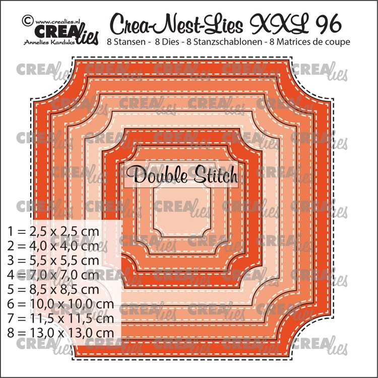 Crea-Nest-Lies XXL stansen no. 96, Ticket vierkant met dubbele stiksteek (8x)