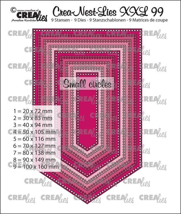 Crea-Nest-Lies XXL stansen no. 99, Vlag met kleine gaatjes (9x)