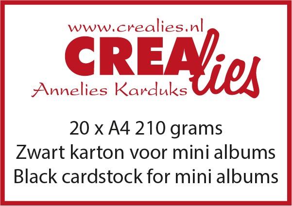Zwart karton, 210 grams, voor o.a. mini albums (20x A4)