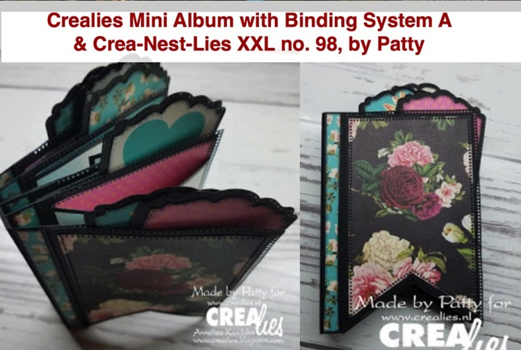 Crealies Mini Albums Binding System A & Crea-Nest-Lies XXL no. 98, by Patty