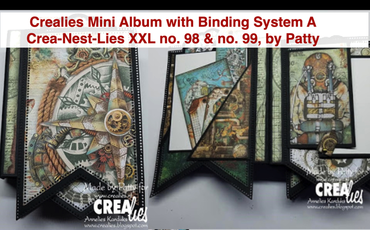 Crealies Mini Albums Binding System A & Crea-Nest-Lies XXL no. 98 and no. 99, by Patty