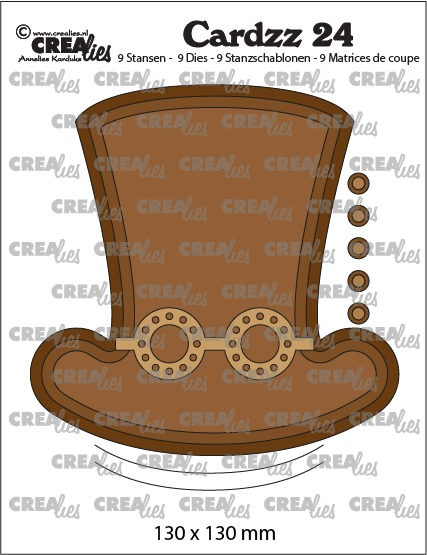 Cardzz dies no. 24, Steampunk hat + glasses (cardsize)