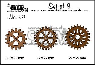 Set of 3 stansen no. 59, 3x Tandwielen
