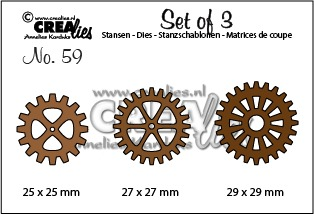 Set of 3 stansen no. 59, 3x Tandwielen