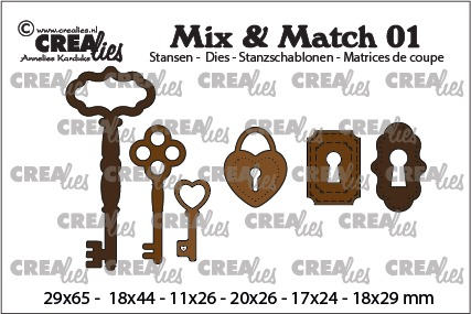 Mix & Match dies no. 01, 3x keys + 2x key lock + 1x padlock