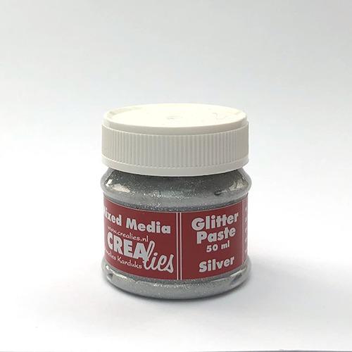 Glitter pasta zilver, 50 ml