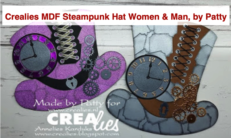 Crealies MDF Steampunk Hat Women & Men, by Patty