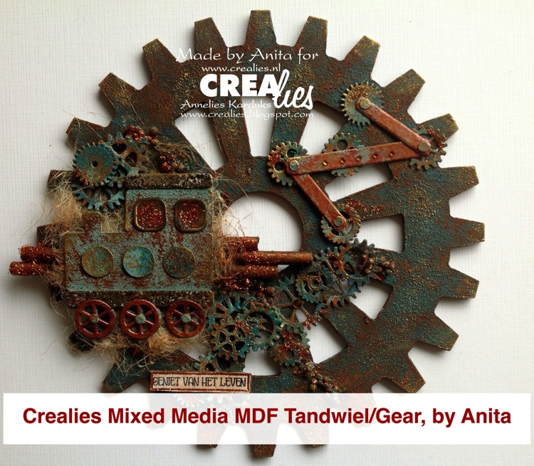 Crealies Mixed Media MDF Gear, by Anita