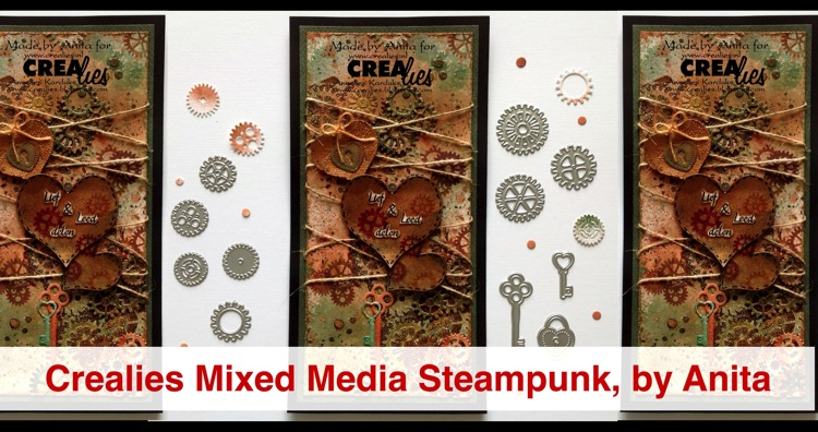 Crealies Mixed Media Steampunk Card, by Anita