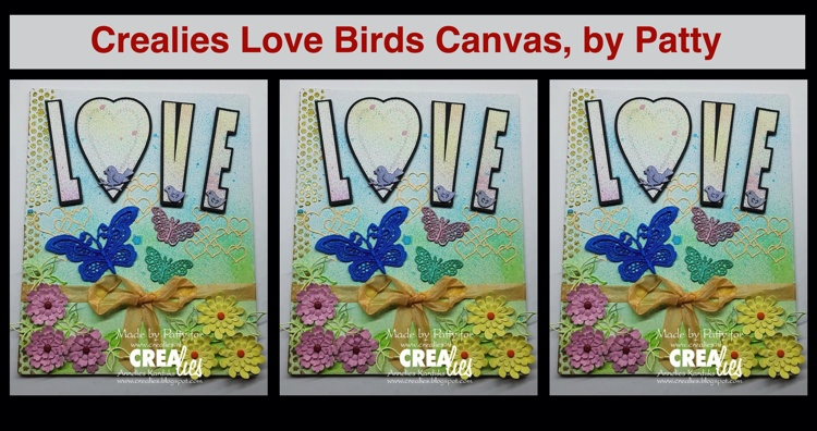 Crealies Love Birds Canvas, by Patty