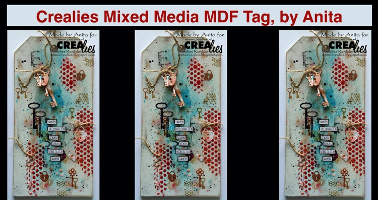 Crealies Mixed Media MDF Tag, by Anita