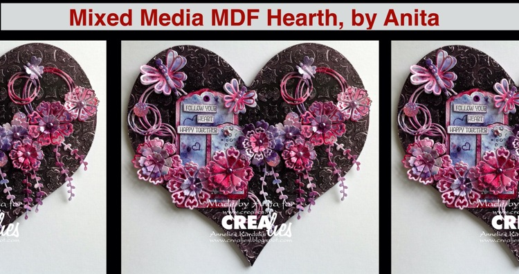 Crealies Mixed Media MDF Heart, by Anita