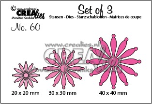 Set of 3 no. 60, Solid flowers 25