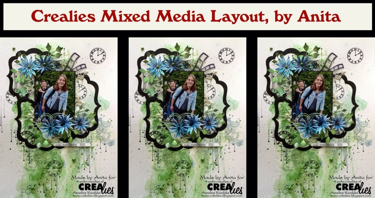 Crealies Mixed Media Layout, by Anita