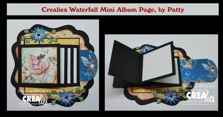 Crealies Waterfall Mini Album Page, by Patty